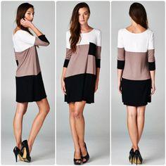 Alli Nicole Boutique - Mocha Latte Dress, $24.00 (http://www.allinicoleboutique.com/mocha-latte-dress/) #fall #fashion #clothing #dress #dresses #mocha #taupe #black #pockets #dressup