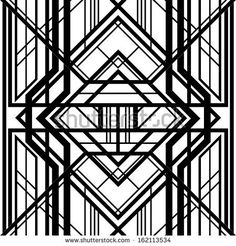 seamless pattern, abstract geometric background, black and white stripes, intertwining lines, Art Deco style