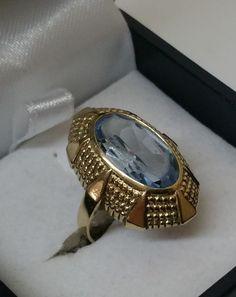Vintage Ringe - Goldring 333er mit Aquamarin 60er Jahre GR165 - ein…