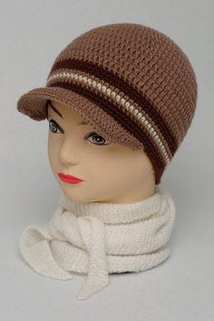 Visor cap -  Winter hat -  Warm hat - Men hat - Adult cap - Wool cap - Crochet cap - Crochet hat - For Men