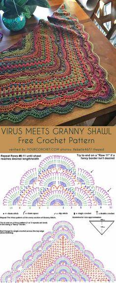 Crochet shawl 408631366193215219 - Virus Meet Granny Shawl Free Crochet Pattern Source by Mandala Au Crochet, Crochet Shawl Diagram, Crochet Triangle Scarf, Crochet Shawl Free, Crochet Shawls And Wraps, Crochet Scarves, One Skein Crochet, Crochet Stitches, Crochet Granny