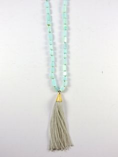 Amazonite and Beaded Tassel Knotted Necklace