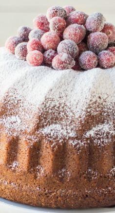Orange Spice Cream Cheese Bundt Cake with Sugared Cranberries