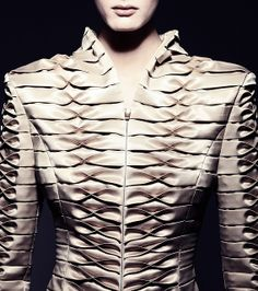 Elegant Fabric Manipulation for Fashion - beautifully balanced tuck & fold variation used to create structured pattern & texture detail // Giorgia Fonyodi