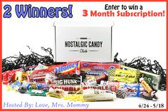 Welcome to our Delicious Subscription to Nostalgic Candy Club Giveaway! Two very lucky winners will win 3 Months of delicious candy delivered to their door! Enter today and Good Luck! Sponsored By: Nostalgic Candy Club Hosted By: Love, Airheads Candy, Nostalgic Candy, Email Subject Lines, Favorite Candy, Enter To Win, Grab Bags, Have Some Fun, Mom Blogs, Gift Guide