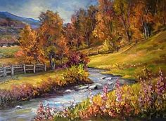 Maher Art Gallery: The artist Anca Bulgaru Watercolor Landscape, Landscape Art, Landscape Paintings, Watercolor Paintings, Bob Ross Paintings, Autumn Scenes, Photo D Art, Autumn Painting, Pictures To Paint