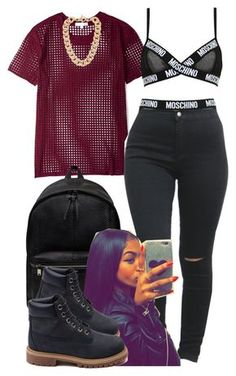 """Untitled #145"" by trillest-fashion ❤ liked on Polyvore featuring IRO, Moschino, Yves Saint Laurent, Michael Kors and Timberland"