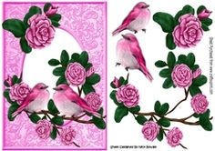 Pretty pink roses on a branch with pink birds A5 on Craftsuprint - View Now!