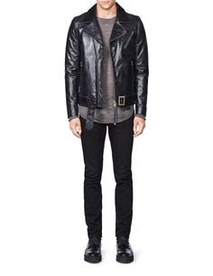 Hellish leather jacket-Men's biker jacket in slightly heavier leather quality with gold metal details. Features zip fastening at front and sleeve. Belt with metal buckle. Fully lined. Men's Outerwear, Metal Buckles, Biker, Leather Jacket, Belt, Zip, Fitness, Sleeves, Jackets