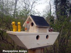 Birdhouse, Noah's ark, folk art primitive, 3 nest bird house
