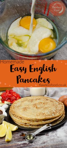 This simple British recipe uses a homemade pancake mix made from scratch. The ingredients for this thin pancake batter are flour, eggs, milk, sugar, oil, and vanilla extract is optional. Quick to cook, ready in minutes. Topping suggestions for crepes include traditional lemon and sugar, strawberry with icing sugar or banana with chocolate sauce. Can be made ahead and kept refrigerated or frozen.Perfect for Pancake day, UK and US m Best Breakfast Recipes, Sweet Breakfast, Brunch Recipes, Dessert Recipes, Breakfast Ideas, Breakfast Time, Desserts, Freeze Pancakes, Homemade Pancakes