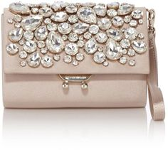 Karen Millen Satin and Crystal Champagne Clutch