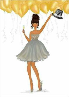 This elegant holiday card or boxed set features an African American, Black or multicultural fashionista in a shimmering party dress with a Happy New Year hat. Happy Birthday Wishes, Birthday Greetings, Birthday Cards, New Year Wishes, New Year Card, New Years Hat, Nouvel An, Christmas And New Year, Happy Planner