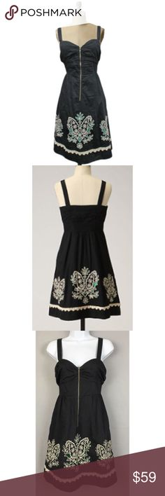 "Floreat Anthro Floral Eyelet Embroidered Dress Floreat Sz 0 Anthro Black Floral Eyelet Embroidered DressSize 0Exposed front zipSleevelessSweetheart bustSide pocketsGreen liningBeautiful Floral Eyelet Embroidered designBust 32""-no Pre owned great condition! Anthropologie Dresses"
