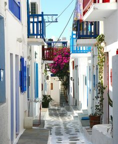 Mykonos, Greece. They use such light, pretty colors in their architecture.