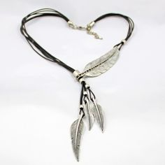 New bohemian Style Vintage Jewelry Black Rope feather Rhinestone statement Necklace women necklaces & pendants Bijoux
