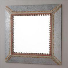 (135) Rustic Square Metal Frame Mirror