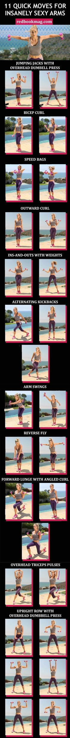 SEXY ARM WORKOUT FOR WOMEN: Grab a set of 2- to 3-pound dumbbells, and do 20 to 30 reps of each move in quick succession to tone your arms, back, chest, and legs. Repeat the entire sequence two to three times to get toned arms fast! Click through for the entire arm workout with weights that you can do at home or at the gym. by sonia