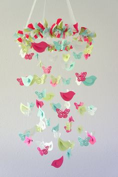 Butterflies & Birds Nursery Mobile in Bright pink, Aqua, Green, & White Bird Nursery, Nursery Decor, Nursery Mobiles, Baby Mobiles, Ideas Dormitorios, Butterfly Baby, Butterfly Mobile, Paper Crafts, Diy Crafts