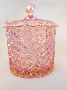 Fenton Art Glass Rose Opalescent Iridized Daisy & Button Covered Candy Box