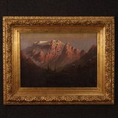 View this item and discover similar for sale at - Antique Italian painting from century. Oil painting on canvas depicting mountain landscape of excellent pictorial quality. Richly carved and gilded Mountain Landscape, Landscape Art, Landscape Paintings, Oil Paintings, Oil Painting On Canvas, Canvas Art, Photo Signature, Italian Paintings, Antique Market