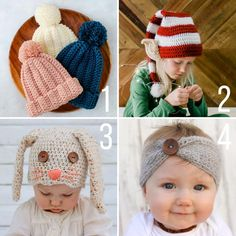 Easy Crochet Baby Bonnet - free modern pattern + tutorial yrs) 4 free crochet patterns featuring a super easy child's beanie, a Santa's Helper elf hat, a floppy-eared bunny hat, and a soft baby headband with button. Baby Bonnet Pattern, Crochet Baby Bonnet, Newborn Crochet, Crochet Baby Booties, Crochet Hats, Easy Knit Baby Blanket, Crochet Baby Blanket Beginner, Easy Crochet, Free Crochet