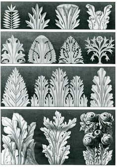 Details of foliated ornament from capitals of the Ducal Palace, VEnice, assembled by Ruskin