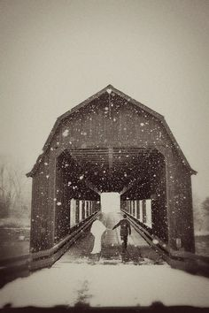 Covered Bridge.  Romantic...but chilly! lol