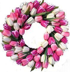 Wreaths For Door Spring Indulgence Tulip Wreath White and Pink Tulips Indoor Outdoor 22 Inch Spring Door Wreath Decorate Easter Mothers Day Will Fit Between Most Storm Doors White Tulips, Pink Tulips, Tulip Wreath, Floral Wreath, Spring Front Door Wreaths, Spring Wreaths, Summer Wreath, Outdoor Wreaths, Diy Wreath
