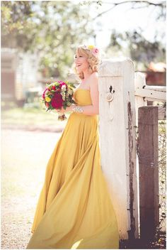 Remember our post on Cinderella Wedding Gowns? Well, we're back with more princess wedding dreams but this time, it's all about Belle. Inspired by the new Beauty Mustard Yellow Wedding, Yellow Wedding Colors, Yellow Wedding Dress, Colored Wedding Dresses, Yellow Dress, Yellow Weddings, Yellow Bridesmaids, Bridesmaid Dresses, Wedding Pics
