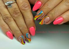 Nails * nail art * neon * rainbow