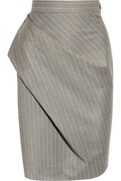 Shop on-sale Vivienne Westwood Anglomania Philosophy pinstripe wool pencil skirt. Browse other discount designer skirts & more on The Most Fashionable Fashion Outlet, THE OUTNET. Calvin Klein Top, Jupe Short, Patterned Jeans, Draped Skirt, Fashion Details, Fashion Design, Vivienne Westwood Anglomania, Pattern Cutting, Wool Skirts