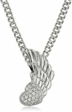 "King Baby 18"" Curb Link Chain with Winged Heart Pave Cubic Zirconia and Sterling Silver Pendant Necklace King Baby. $180.00"