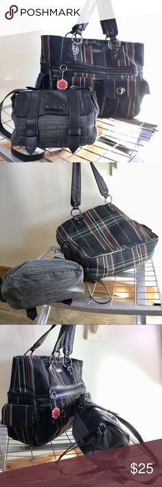 """🇯🇲DAKINE DUO🇯🇲 🇯🇲DAKINE DUO🇯🇲 CROSSBODY TARTAN FLAP SNAP EUC SOLID! NYLON RASTA COMPUTER BAG — ZIP PULL CAME OFF TOP ZIP!!!! ALL OTHER HARDWARE SOLID. NO STAINS HOLES RIPS- STITCHING TRIM LINING PIPING GREAT. COMPUTER BAG MEASURES 16""""x11""""x5.5"""" WITH 10"""" DROP. PADDED DEVICE PROTECTION & LOTS OF STOW POCKETS. GRAY & BLACK XBODY WITH GORGEOUS PURPLE SATIN LINING. 11""""x7""""x4"""" WITH 21""""-23"""" DROP.  LET ME KNOW IF YOU NEED MORE INFORMATION. Dakine Bags"""