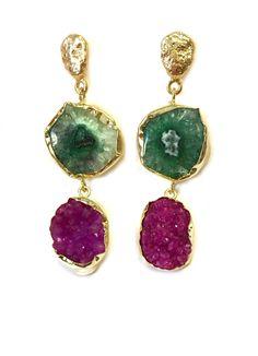 Jewelcloning - Pendientes Lavani Verde y Fucsia