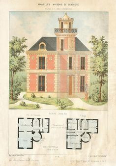 Tiny vintage mansion with tower. Old house plans Small House Plans, House Floor Plans, Building Plans, Building A House, Architecture Design, French Architecture, Vintage House Plans, Sims House, Historic Homes