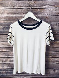 Stripe Sleeve Ringer Tee (Navy)