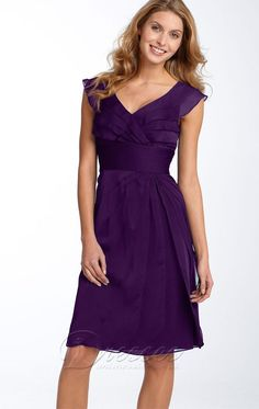 Tropical A-line Knee-length V-neck Purple Chiffon Dress
