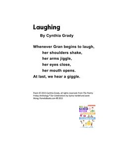 """""""Laughing!"""" ©2015 Cynthia Grady from THE POETRY FRIDAY ANTHOLOGY®  FOR CELEBRATIONS by Sylvia Vardell and Janet Wong (© Pomelo Books, 2015). Figurative Language, Laughing, Celebrations, Poems, Friday, Activities, Poetry, Poem"""