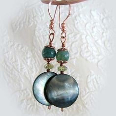 Mother of Pearl, Moss Agate and Copper Earrings, Blue Green   ThaddeusRose - Jewelry on ArtFire
