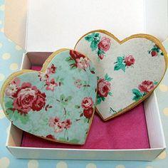 "Untraditional British chintz ""cookies"" decorated in traditional British chintz '>)  I like 'em! ~ notonthehighstreet.com"