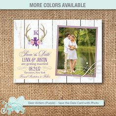 Deer Antlers (Purple) - Save The Date Card with Photo (single-sided), personalized with your own wording and your photo by Joytations on Etsy. Print at home or at a local print shop! More colors available! For details visit: https://www.etsy.com/listing/499526167