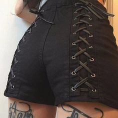 Gothic Punk Sexy Lace Up High Waist Shorts
