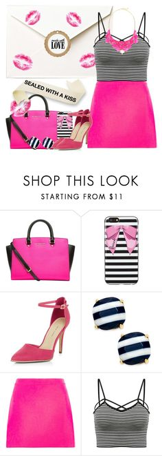 """SEALED WITH A KISS"" by pink1princess ❤ liked on Polyvore featuring MICHAEL Michael Kors, Harrods, New Look, Kate Spade, Versace, George J. Love and stripedshirt"