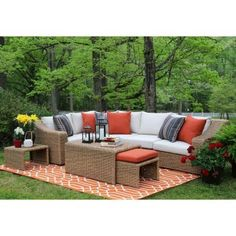 AE Outdoor Arizona 8-Piece All-Weather Wicker Patio Sectional with Sunbrella Fabric White Cushions