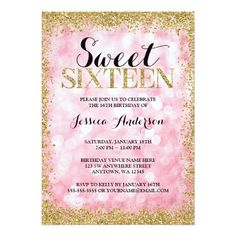327 best 16th birthday party invitations images on pinterest in 2018 pink gold faux glitter lights sweet 16 birthday invitation filmwisefo
