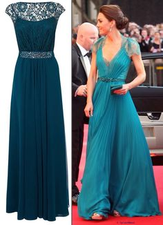 For Kate's teal Jenny Packham this is the Coast Lori Lee Lace Maxi Dress in Kingfisher