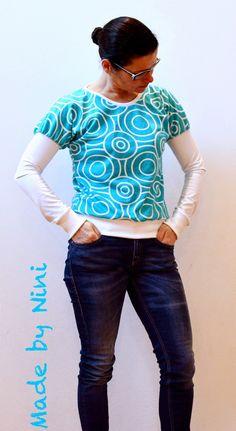 *Heavy Rotation*-Nähbeispiel von *Made by Nini* http://made-bynini.blogspot.de/ Stoff von ASTROKATZE #heavyrotation #aqua #turquoise #retro #retrodesign #fabric #stoff #patterndesign #fabricdesign #diy #sewing #astrokatze #hellyhellerhellokits