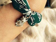Seta verde con ciondoli per un bracciale adatto al vostro MOOD autunnale! #mafaldaviciuos