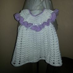 Crochet baby girl dress free tutorial on YOUTUBE by SANDRA PHELPS